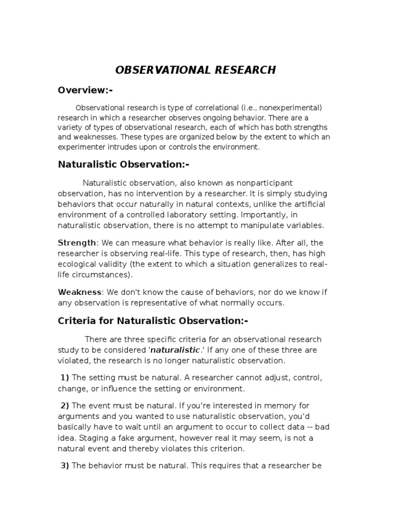 strengths of naturalistic observation