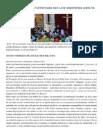 Francisco- Discurso a Familias 28-12-14 Las Familias Numerosas Son Una Esperanza Para La Sociedad