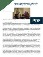 Francisco- Homilía 2-12-14 Un Corazón Humilde Conoce a Dios, La Teología Se Hace de Rodillas