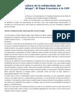 Francisco- Mensaje a La COP20 111-12-14 Promover Una Cultura de La Solidaridad, Del Encuentro y El Diálogo