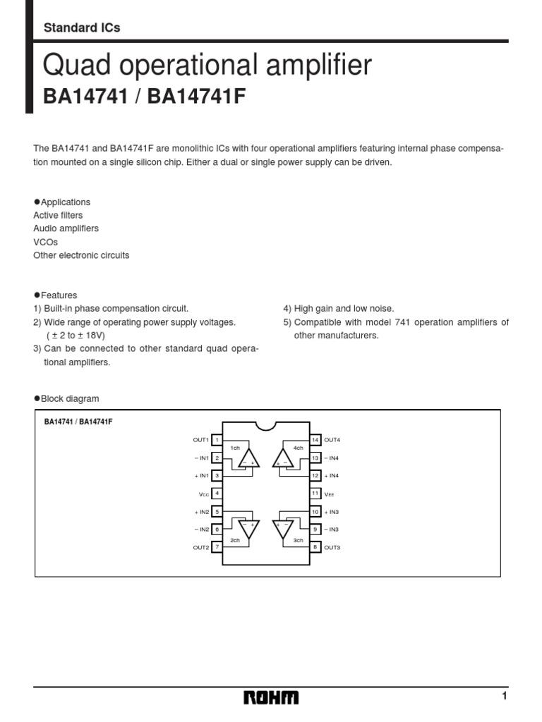Ba 14741 Operational Amplifier Power Quad Opamp Circuit Filtercircuit Basiccircuit