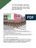 Esercito Italiano Vieta Tatuaggi e Piercing