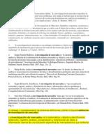 Definiciones de Investigacion de Mercados