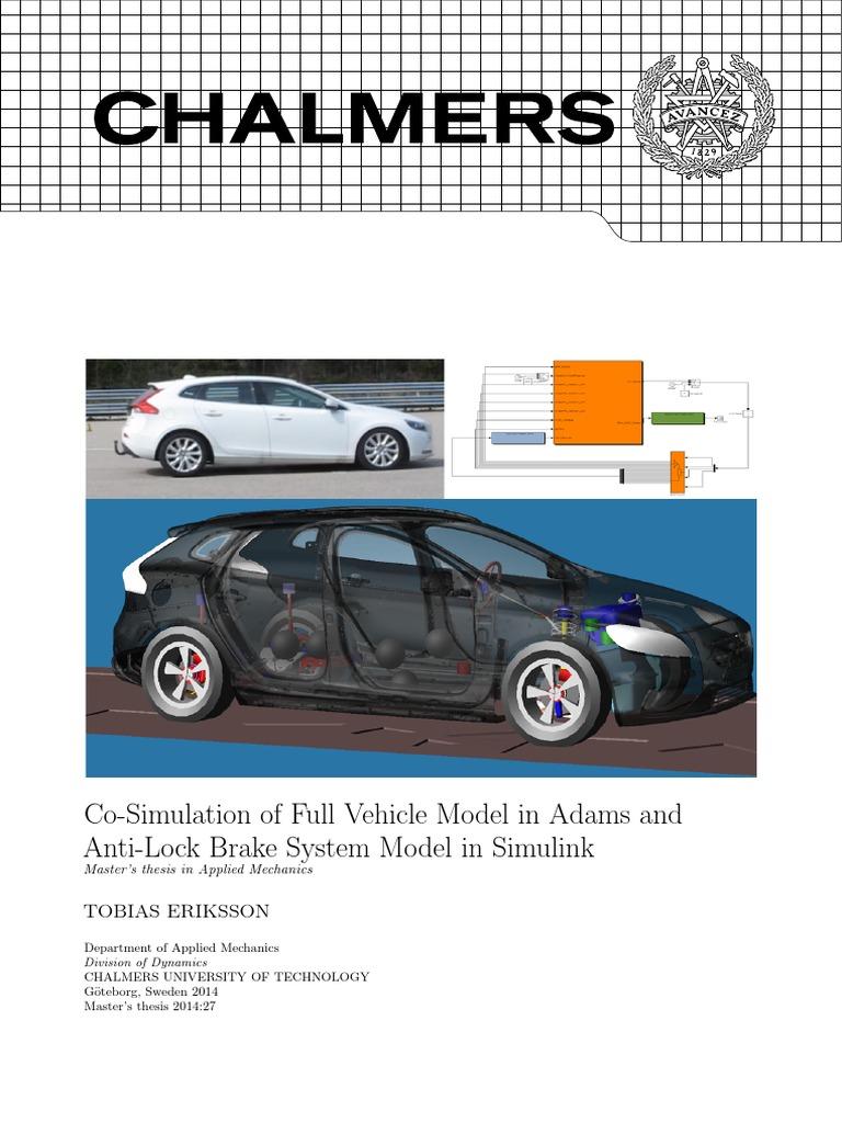 Adams_ABS_cosimulation pdf | Anti Lock Braking System | Brake