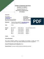 UAlberta 2015 RenR 110 Syllabus