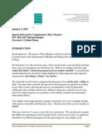 Commissioner Mayhew's FY16-17 Budget Speech