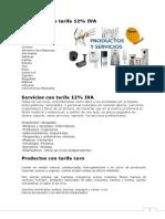 Productos y servicios con IVA 12% y sin  IVA 12%