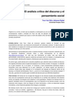 VAN DIJK T - El análisis crítico del discurso y el pensamiento social