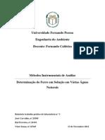 Relatório Determinação Do Ferro Em Solução Em Várias Águas Naturais
