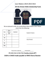 Mavis Music Makers 2015 Shirt Order Form
