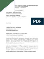 Sentencia Dictada en El Procesop Seguido Contra Maria Chapoñan Bances