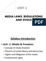 MEDIA LAWS, REGULATIONS AND ETHICS
