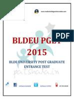 BLDEU PGET 2015 PG Medical Entrance Exam Details