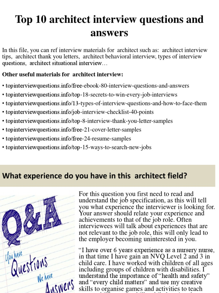 Top 10 Architect Interview Questions And Answerspptx