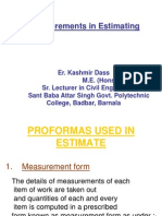 Measurements in Estimating & Costing