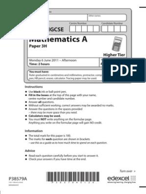Edexcel IGCSE MATHEMATICS A Paper 3h June 2011 | Sine