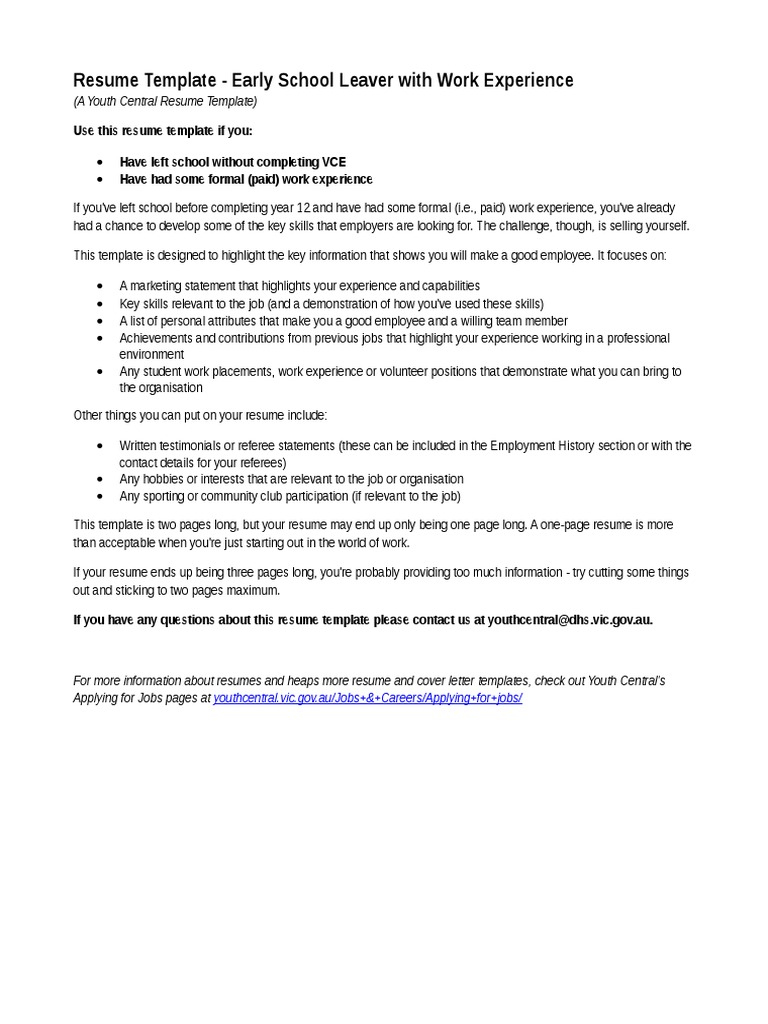 youthcentral resume template schoolleaverworkexperience may2014 0