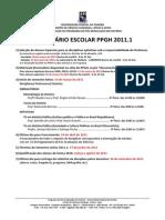 Calendario Ppgh 2011-1