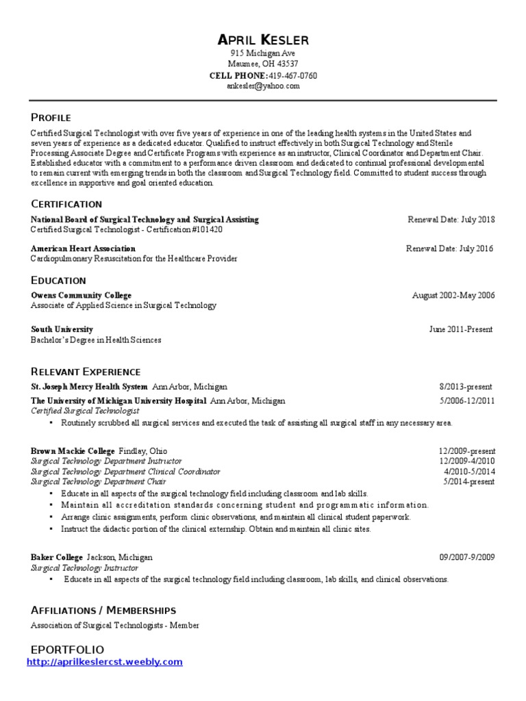 St Resume Cv 2instructor With Weebly Surgery Professional