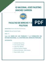 Monografia de La Unión de Los Pueblos y La Formación Del Estado Nacional a La Historia Del Derecho Peruano CD