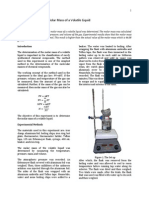 Determination of the Molar Mass of a Volatile Liquid