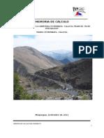 Memoria Calculo Carretera Cuchumbaya - Calacoa Moquegua