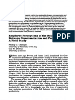 Clampitt P & Downs C (1003) 'Employee Perceptions of the Relationship Between Communication and Productivity'