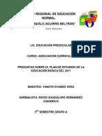 Analisis de Las Preguntas Del Plan de Estudios 2011