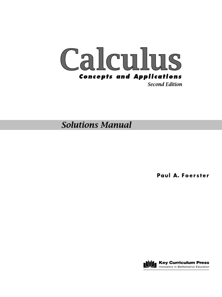 calculus concepts and applications paul a foerster derivative rh pt scribd com Blitzer Precalculus Solutions Paul Foerster Algebra 1