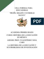 La Historia de La Educación y Sus Problemas de Investigación