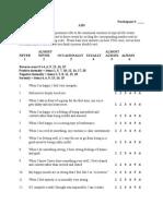 AIM - Short Affect Intensity Scale - Scoring Sheet