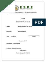 Biogeografia de Las Islas ENSAYO -Cristian Borja-
