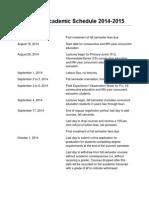 Academic Schedule 2014-2015