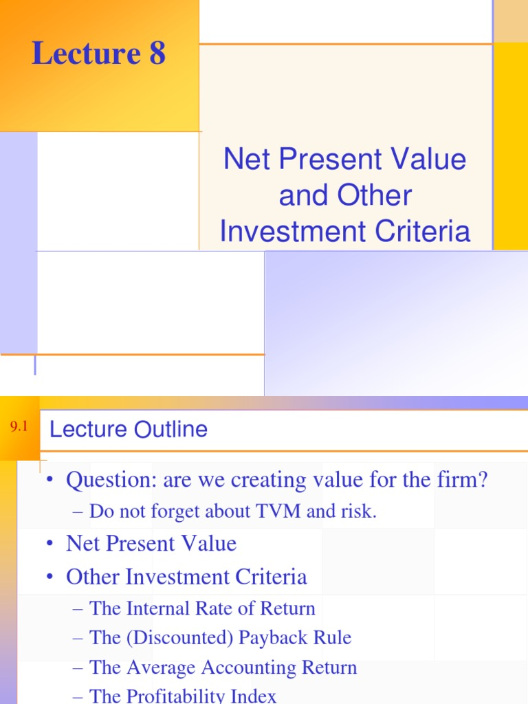 Ppt net present value and other investment criteria investment casting manufacturers in maharashtra times