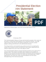 Sri Lanka Presidential Election 2015 Interim Statement