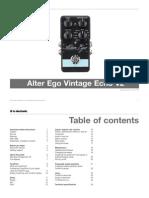 Tc Electronic Alter Ego Vintage Echo v2 Manual English