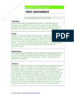 Software Use Case Test Document Template