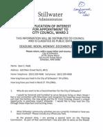 Stillwater City Council Ward 2 Applications