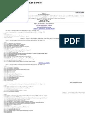 Arizona Administrative Code   Nursing   National Council Licensure