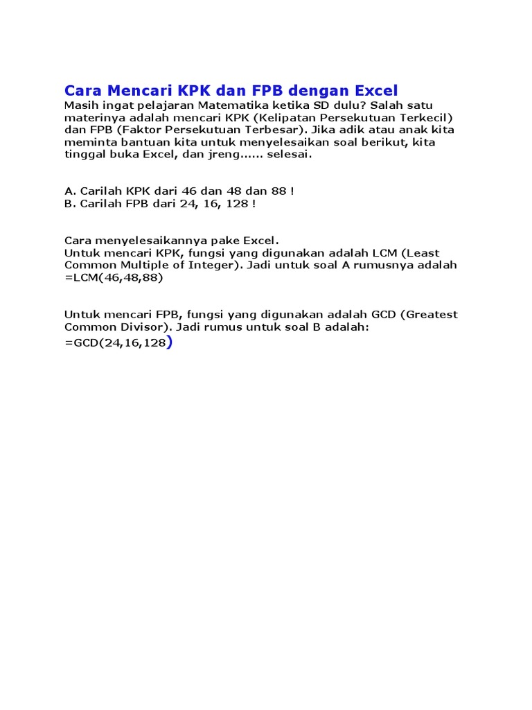 Cara Mencari Kpk Dan Fpb Dengan Excel