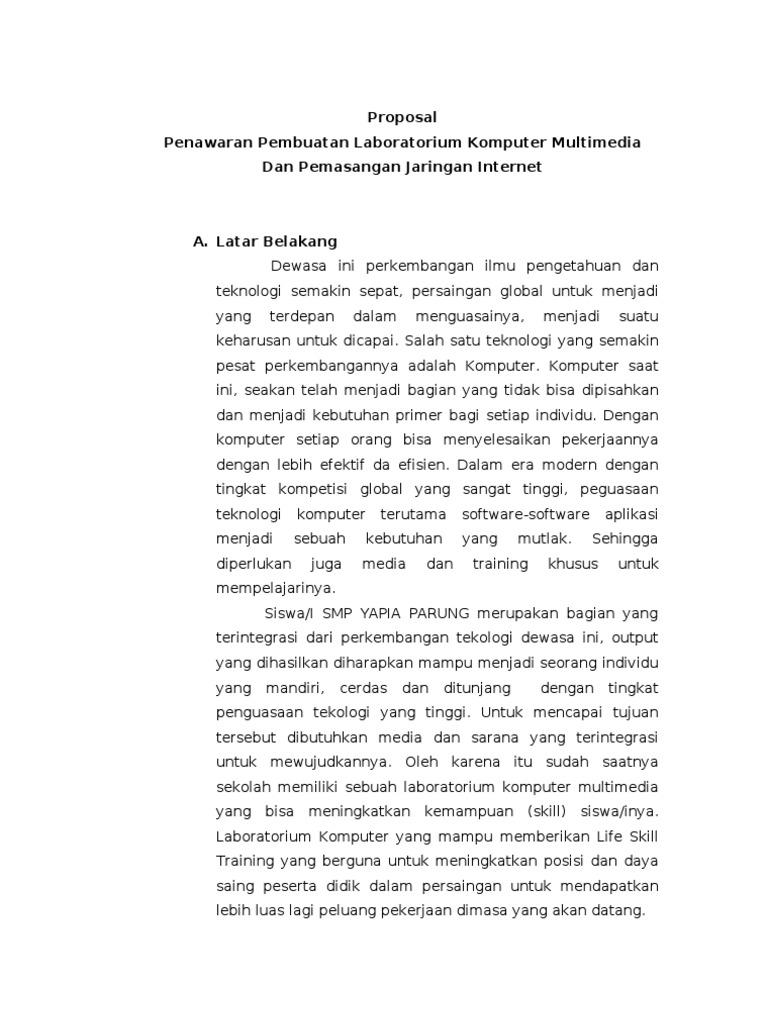Contoh Latar Belakang Proposal Jaringan Komputer