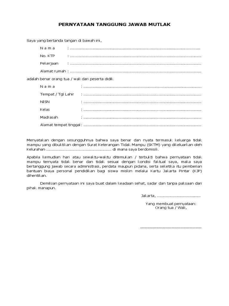 Surat Pernyataan Tanggung Jawab Mutlak (SPTM) Atas ...