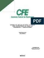 CFE C0000-42 2008, Sistema de Anclaje en Roca-suelo LT's y SE's