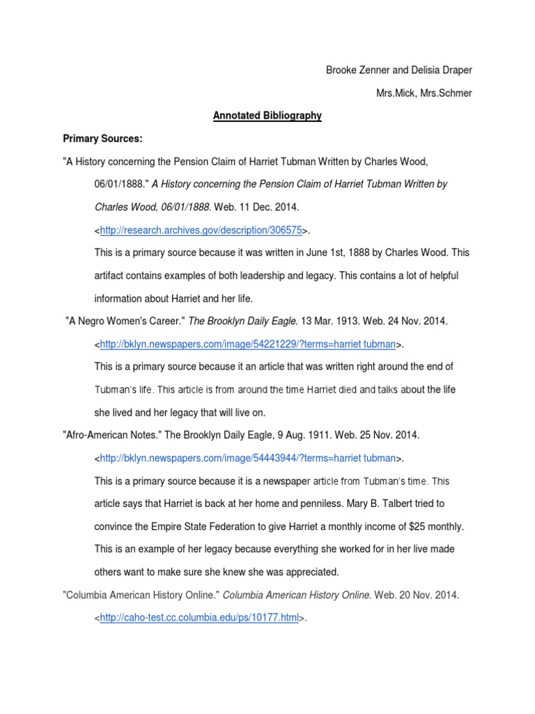 Annotated Bibliography Harriet Tubman – Annotated Bibliography Worksheet