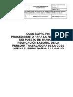 Procedimiento Para La Adaptación Del Puesto de Trabajo o Reubicación Laboral Aprobado 5 Junio 2013