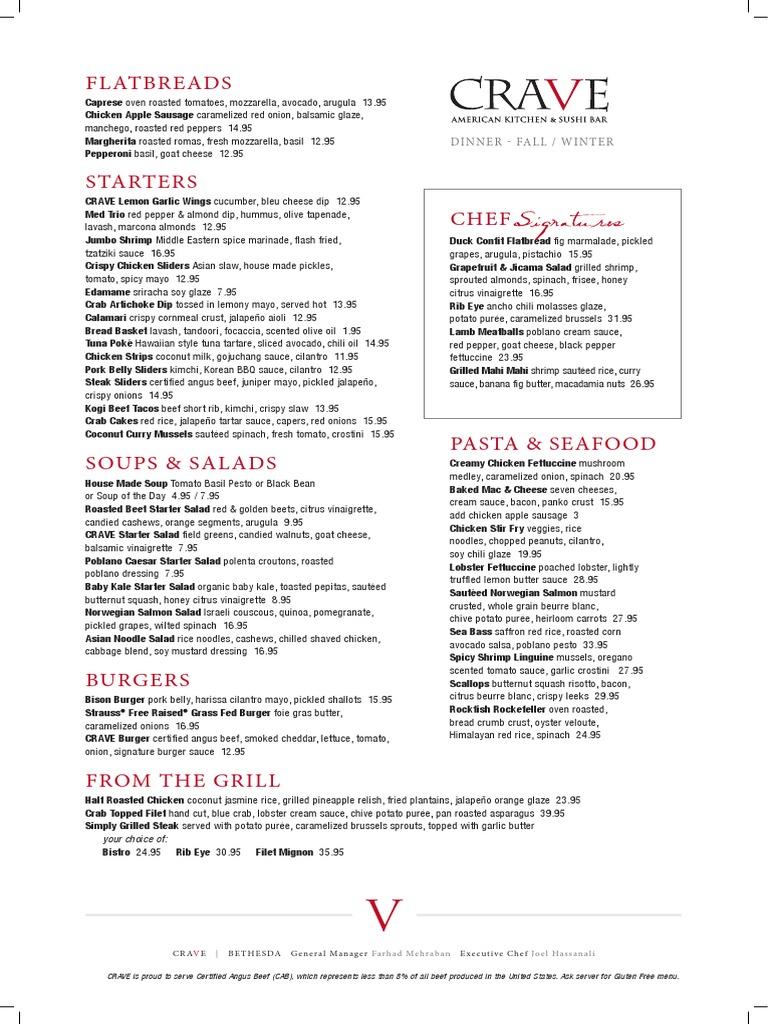 CRAVE Bethesda Dinner Menu | Sushi | Salad