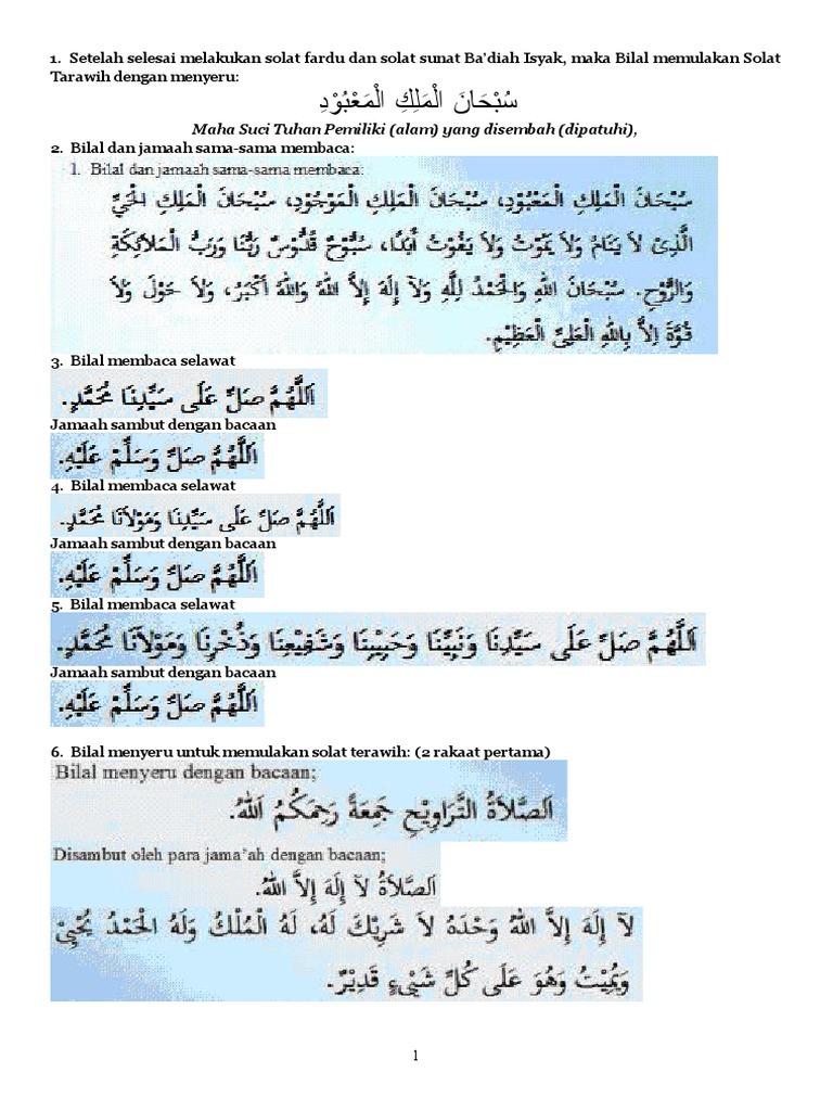 Panduan Bilal Terawih 8 Rakaat