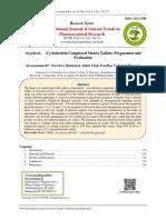 Acyclovir, Β-Cyclodextrin Complexed Matrix Tablets