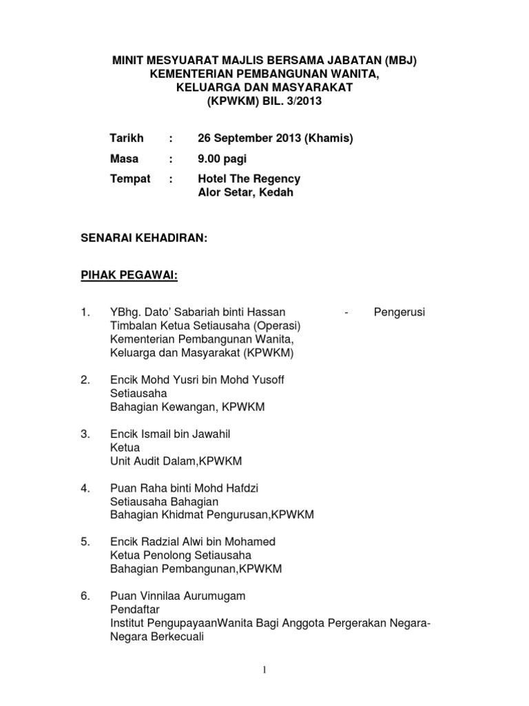 Minit Mesyuarat Majlis Bersama Jabatan Mbj