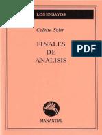 Soler, Colette - Finales de Análisis - Ed. Manantial